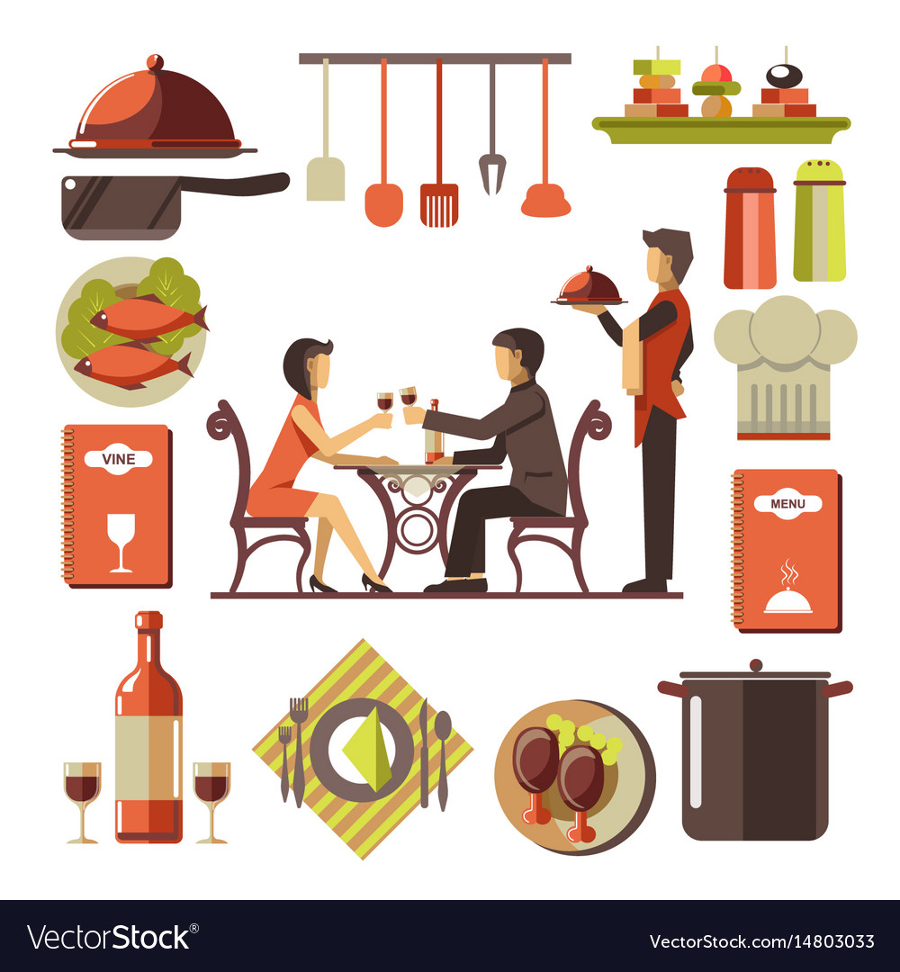 Dating man and woman in restaurant and kitchen set