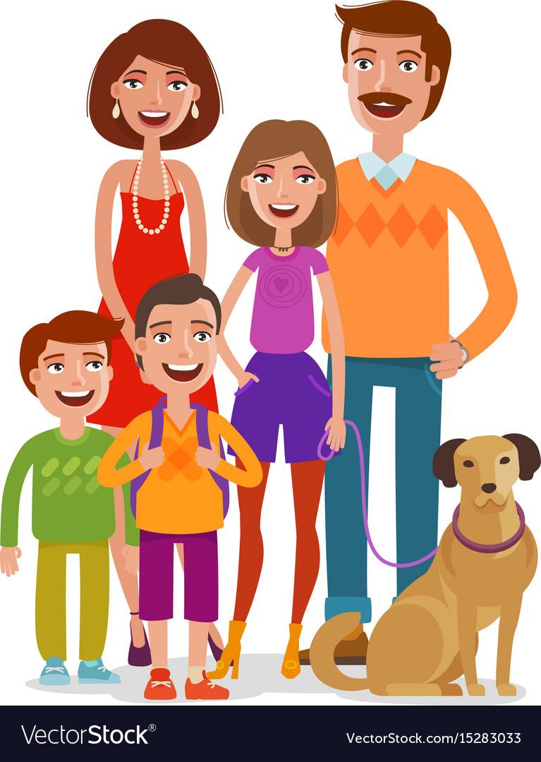 Family portrait happy people children parents