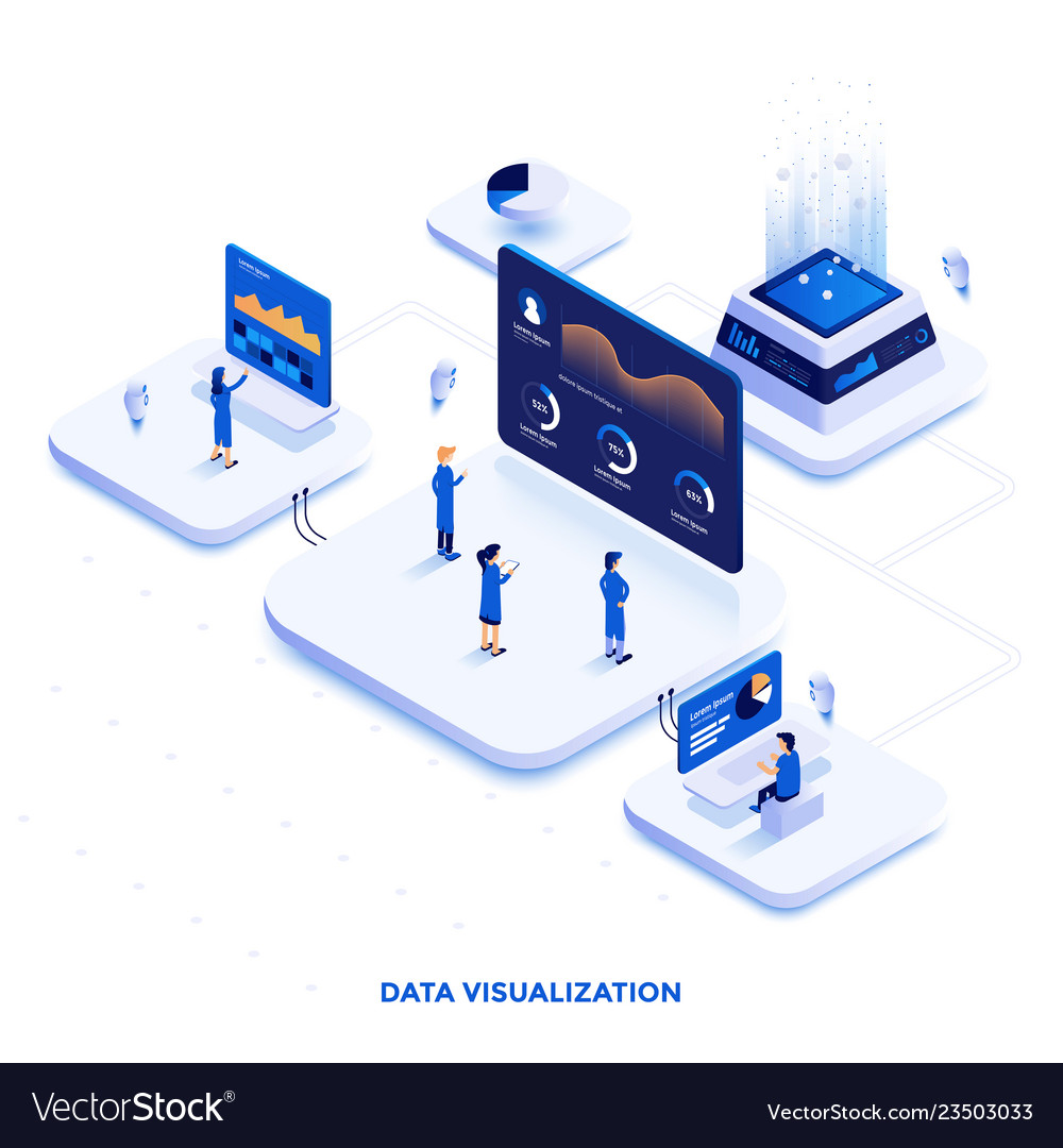 Flat color modern isometric design - data