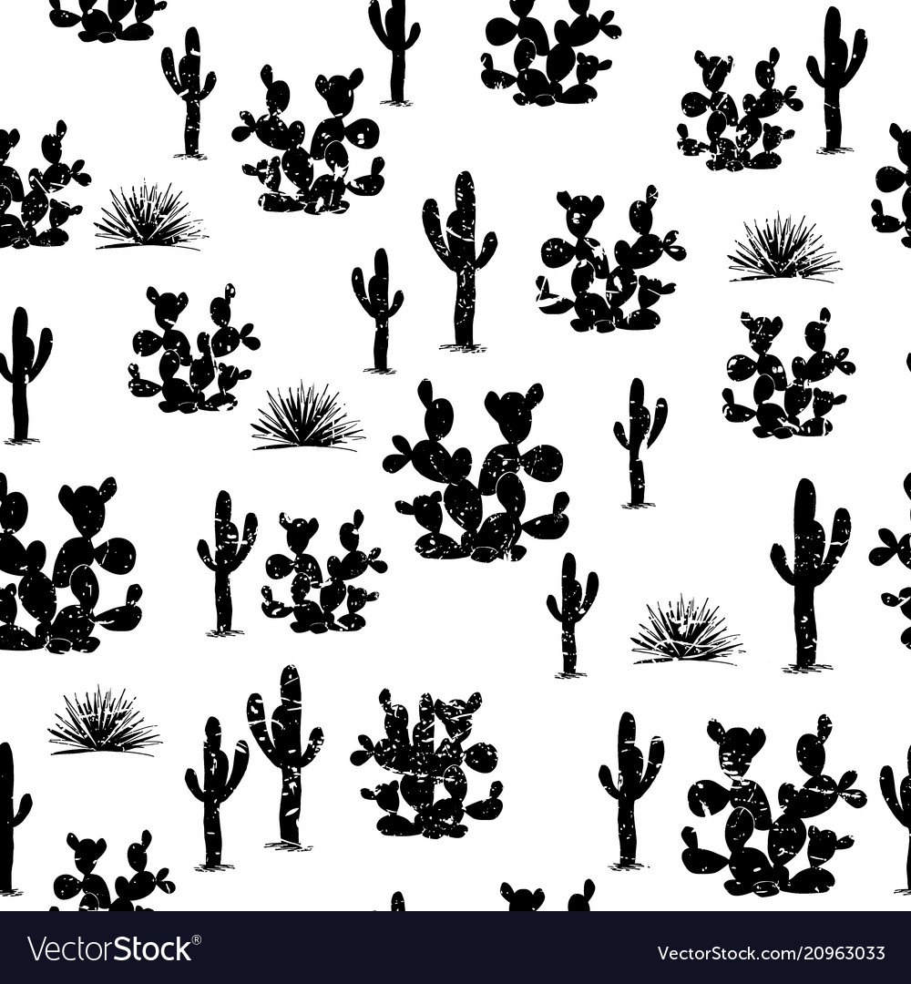 Hand drawn seamless pattern with ccati saguaro