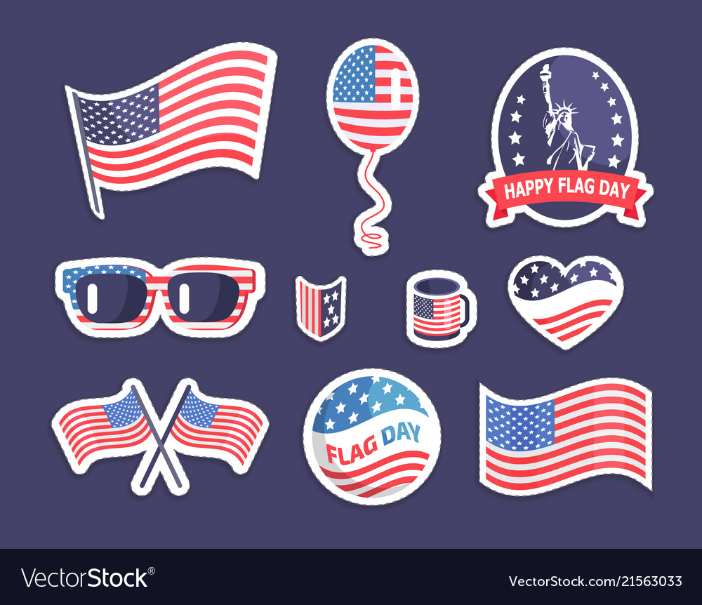 Happy flag day american symbolism colorful banner
