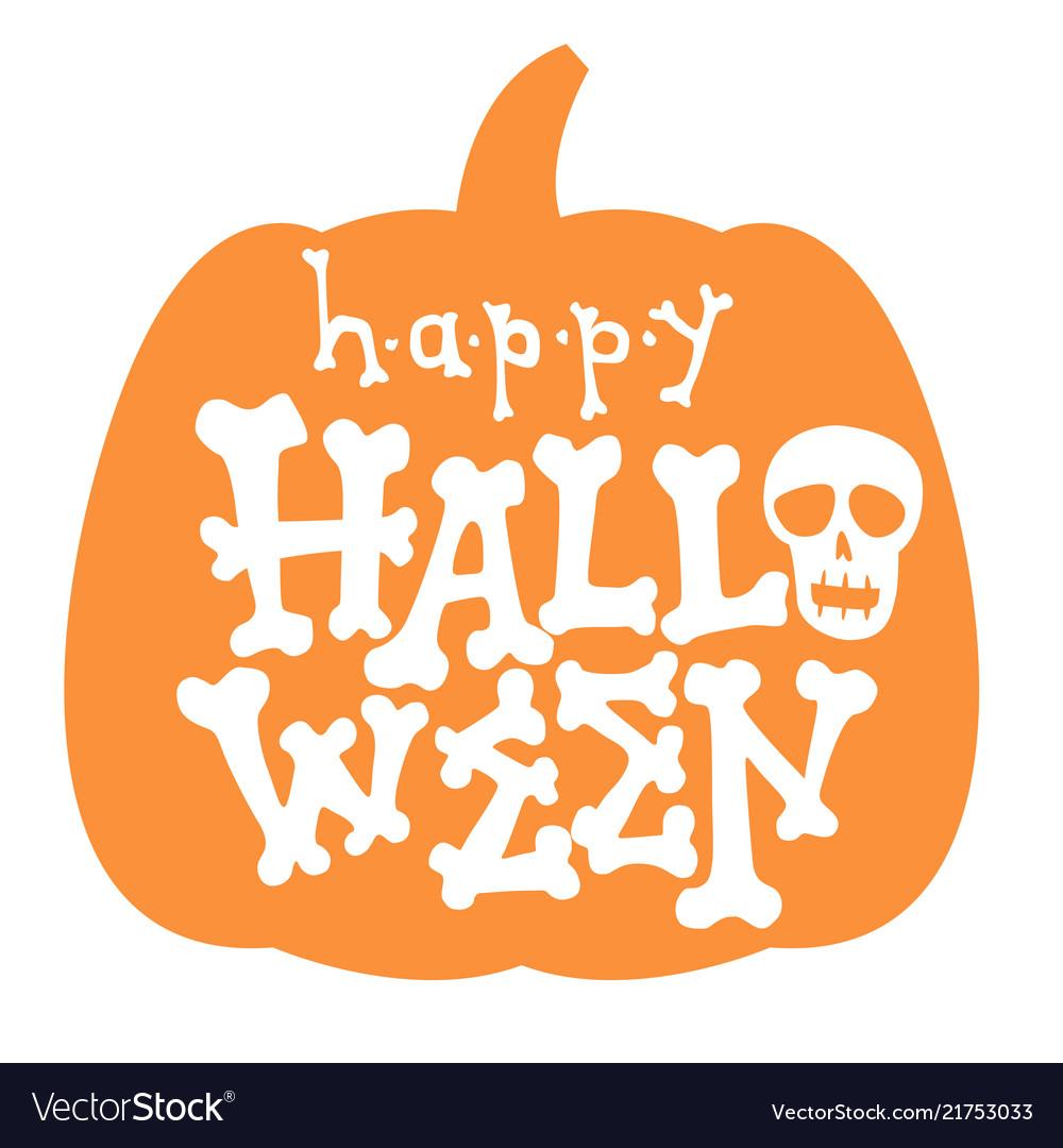 Happy halloween bone lettering card