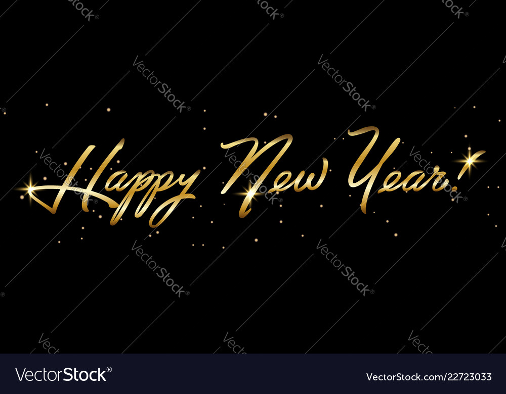 Horisontal golden sign happy new year 2019 holiday