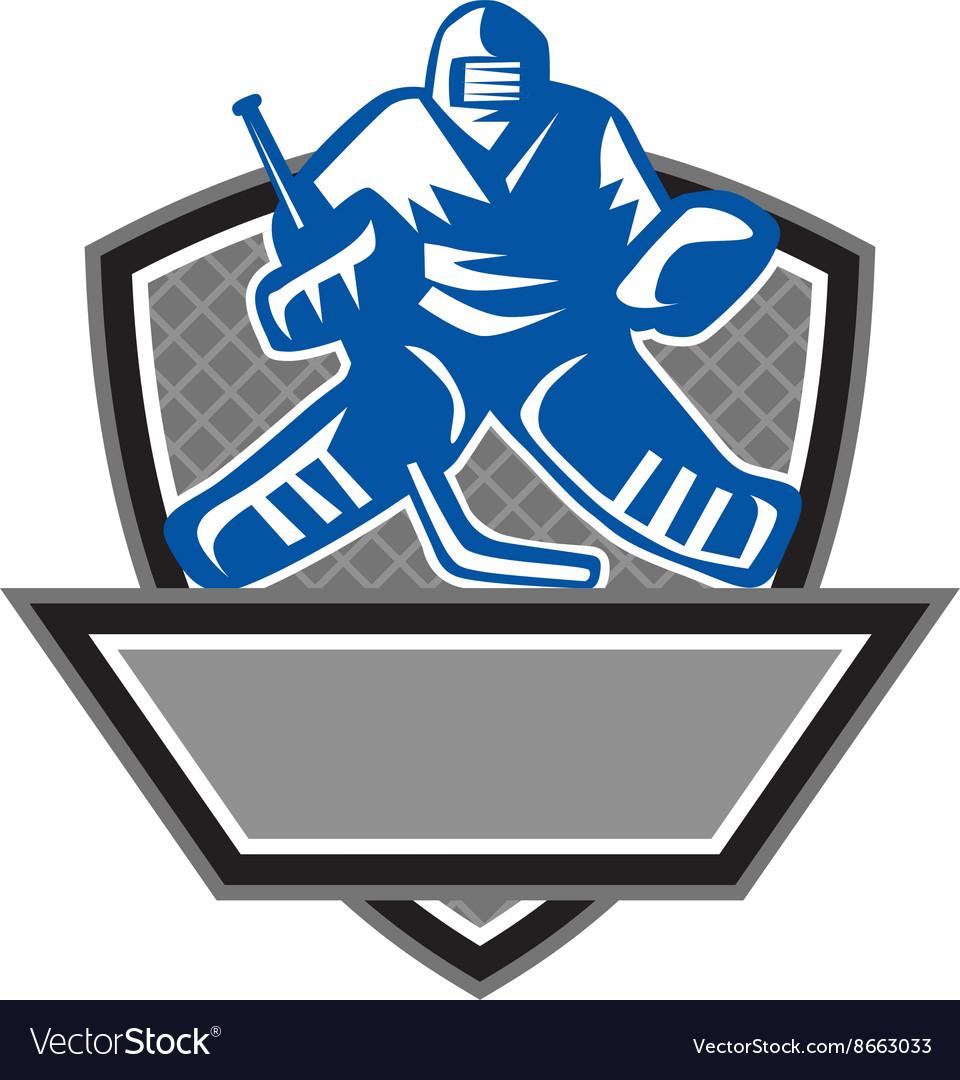 Ice Hockey Goalie Crest Retro