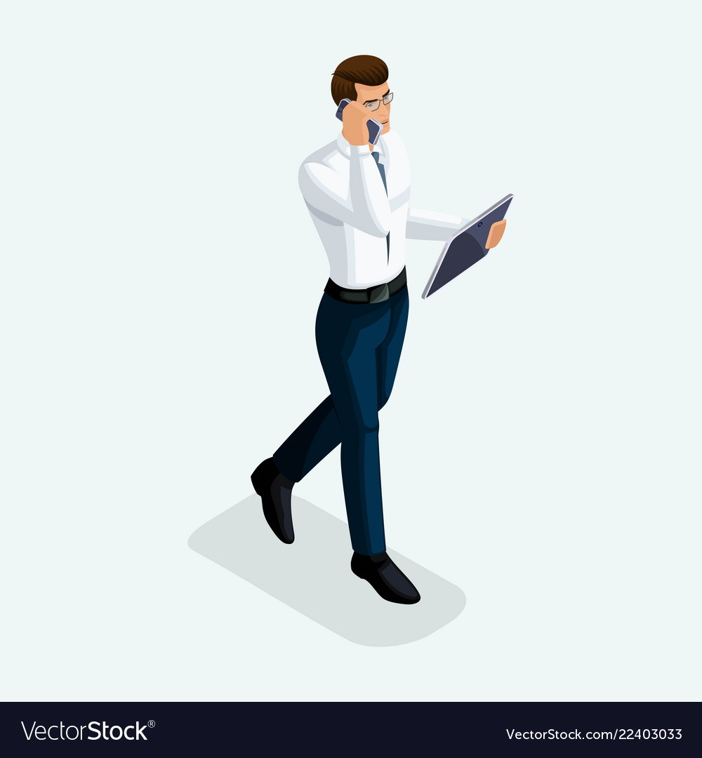 Isometric businessman goes ahead front view bu