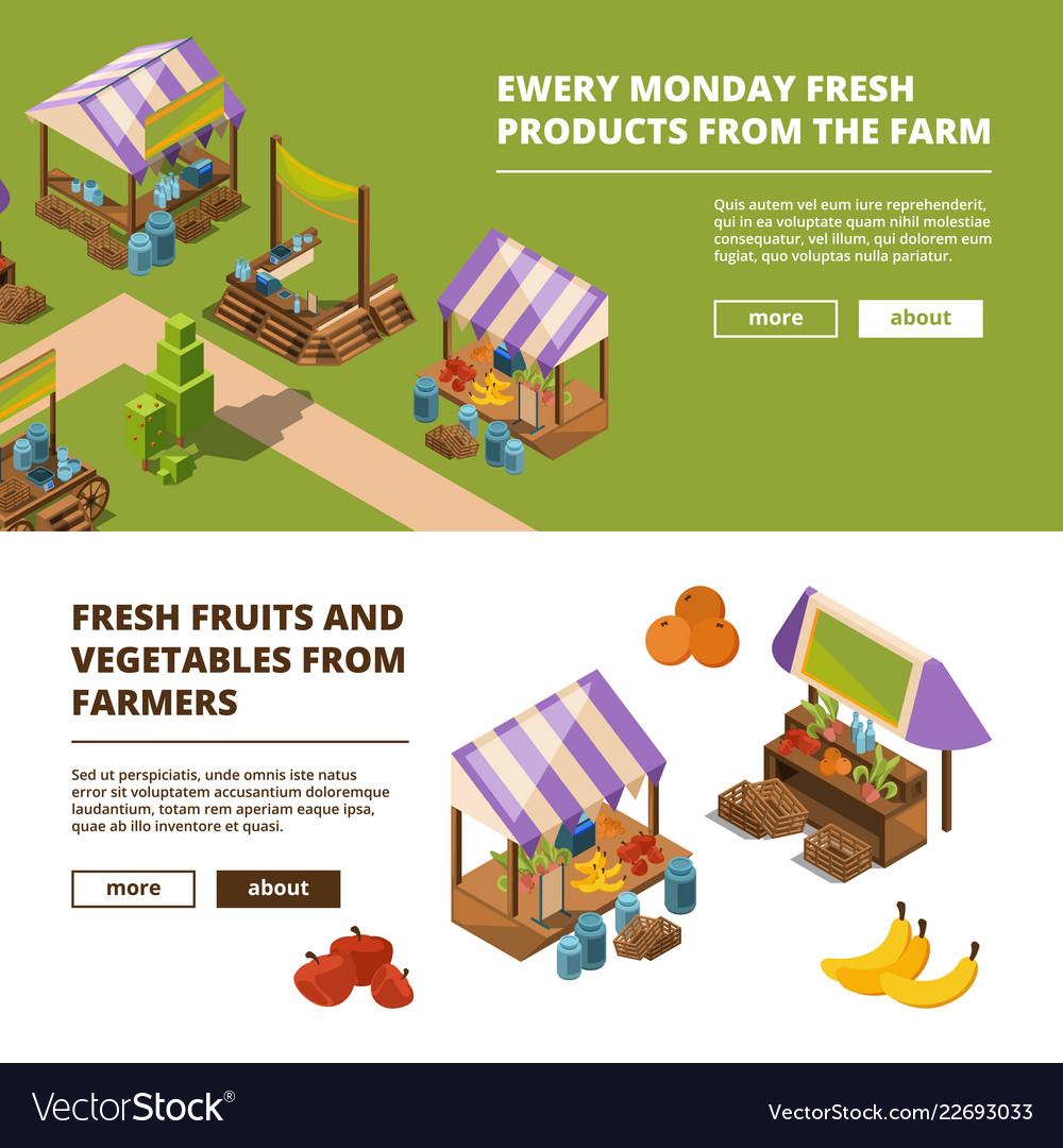 Local farm banners outdoor food marketplaces with