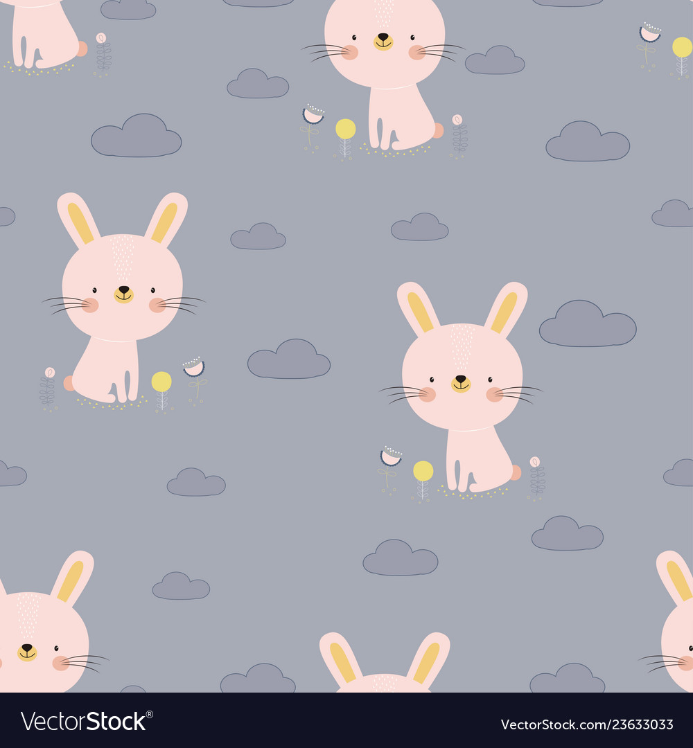Pattern with cartoon bunny