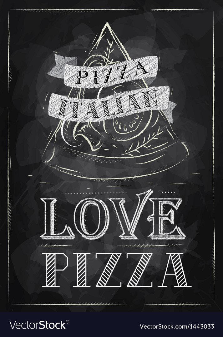 Poster Pizza Love chalk