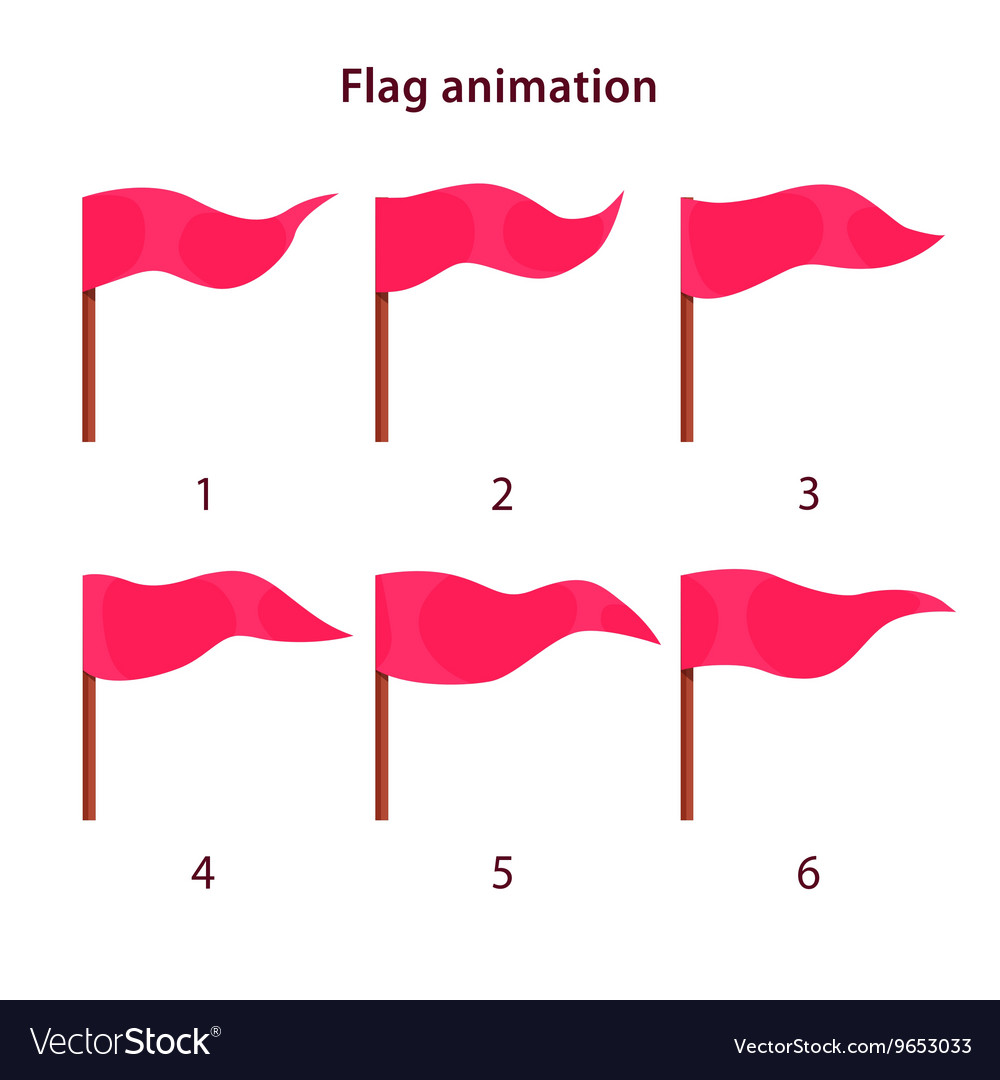 Red triangle shape flag waving animation sprites vector image