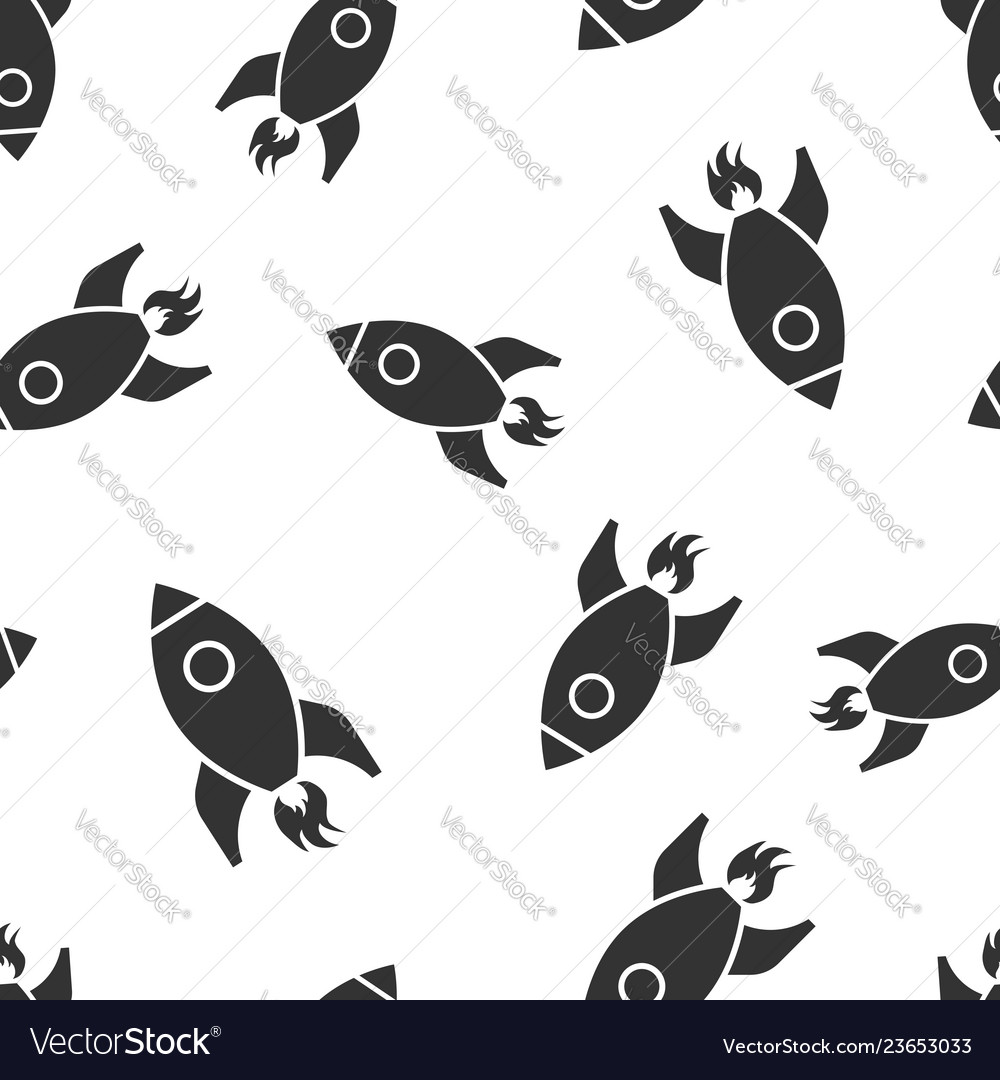 Rocket space ship icon seamless pattern