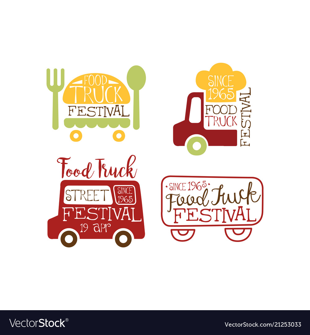 Set of creative emblems for food truck