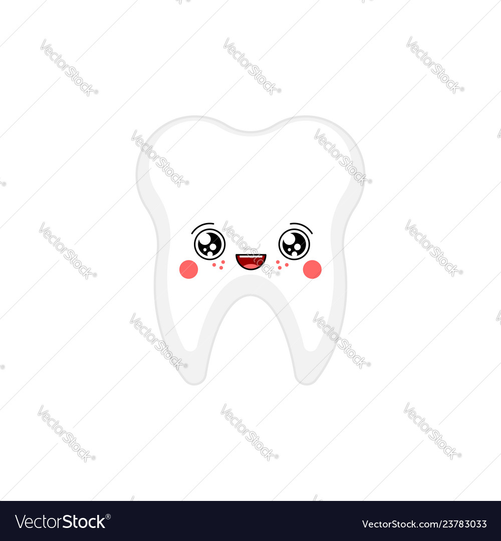 Tooth Kawaii Cute Cartoon Funny Teeth Sweet Vector Image