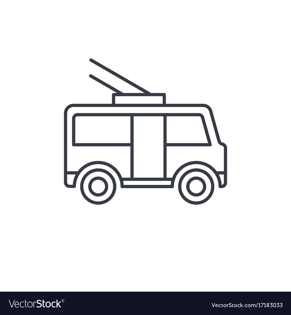 Trolleybus passenger transport thin line icon