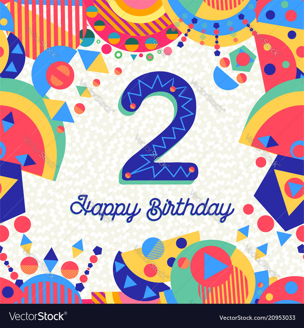 Two 2 year birthday party greeting card number