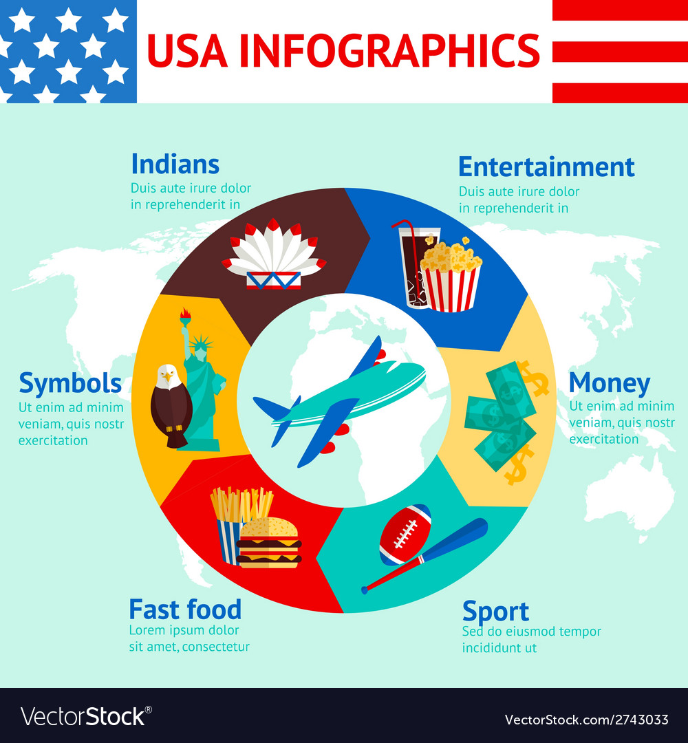 Usa Travel Infographics Royalty Free Vector Image