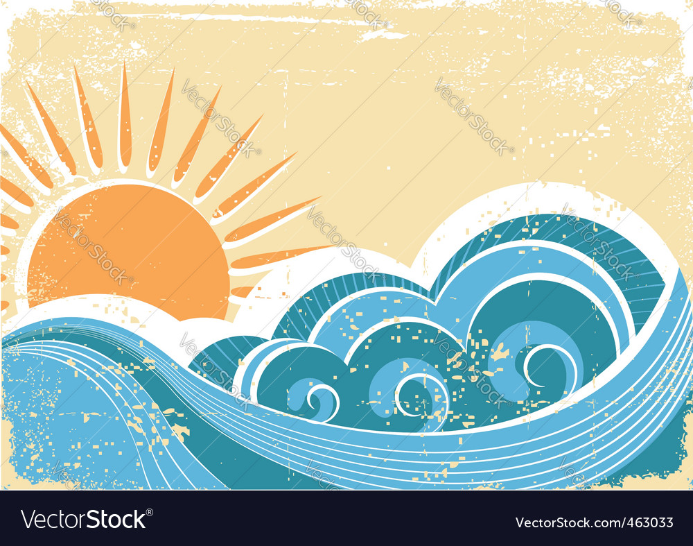 Vintage waves vector image
