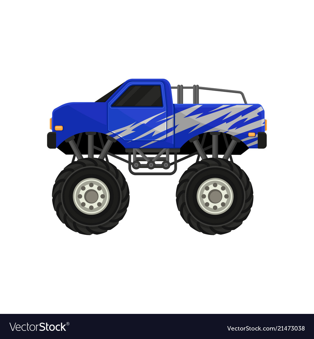 Blue Monster Pickup Truck Car With Large Tires Vector Image