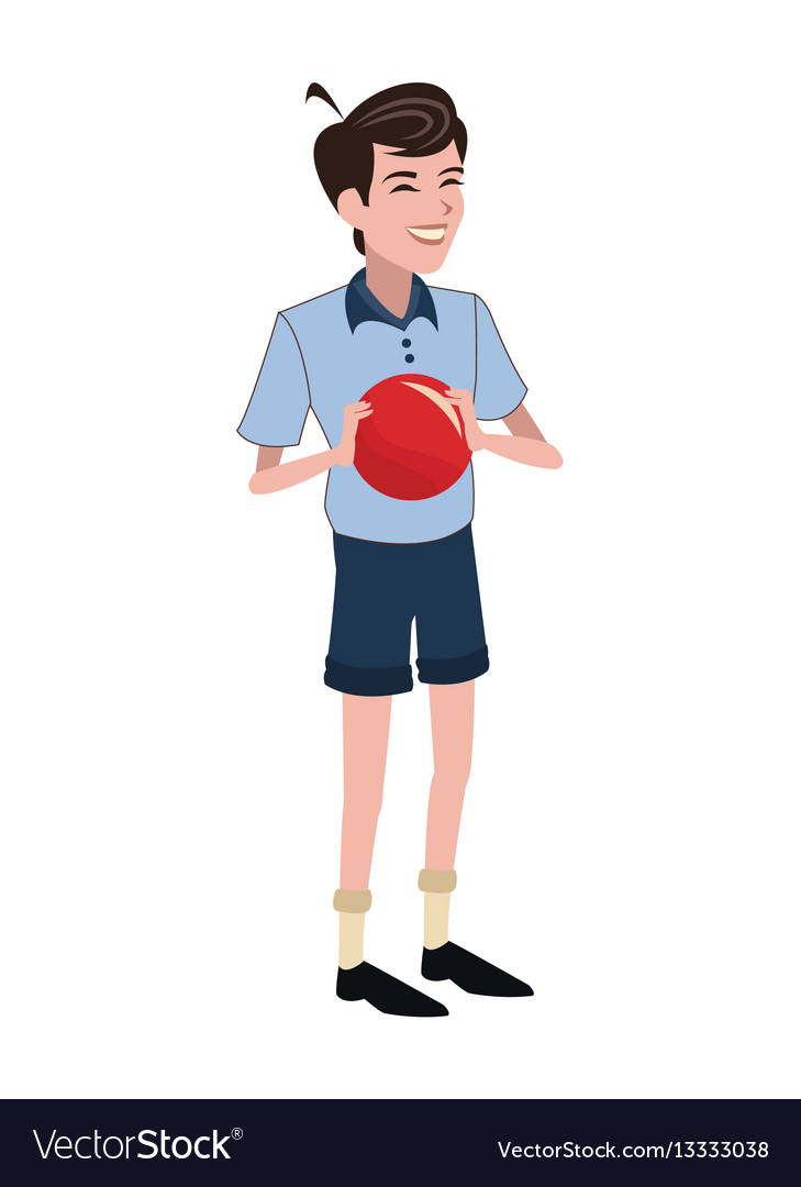 Boy red ball family member vector image