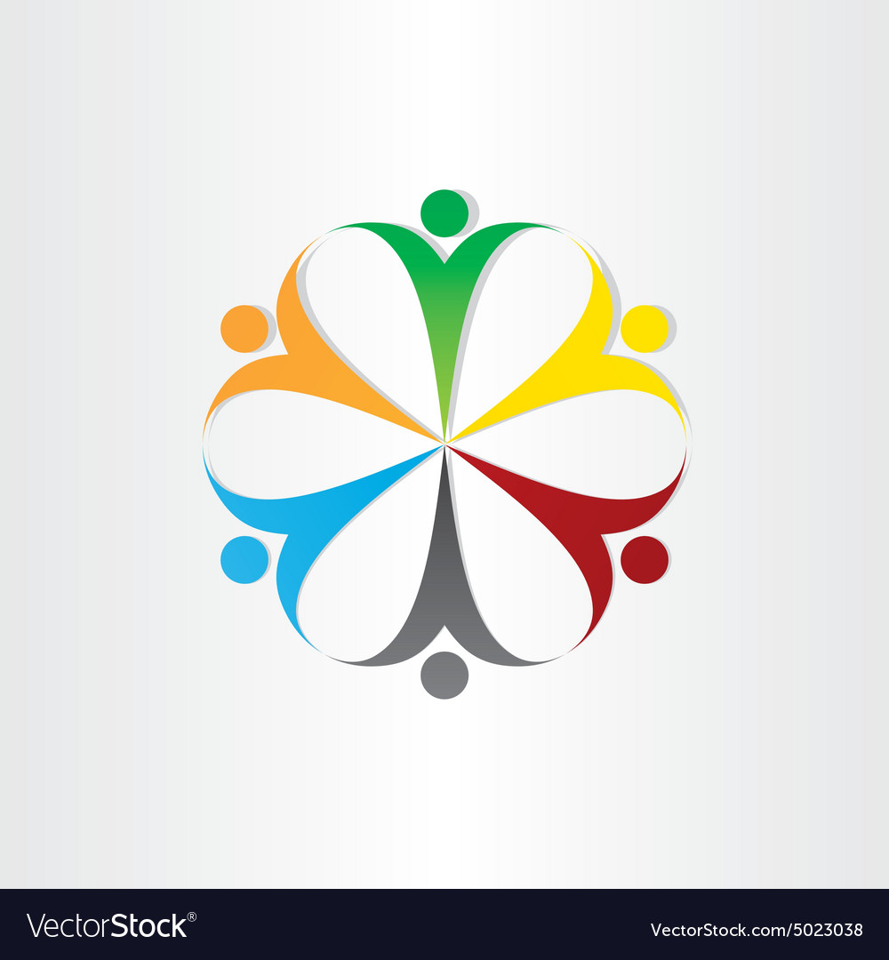 Circle icon people teamwork symbol
