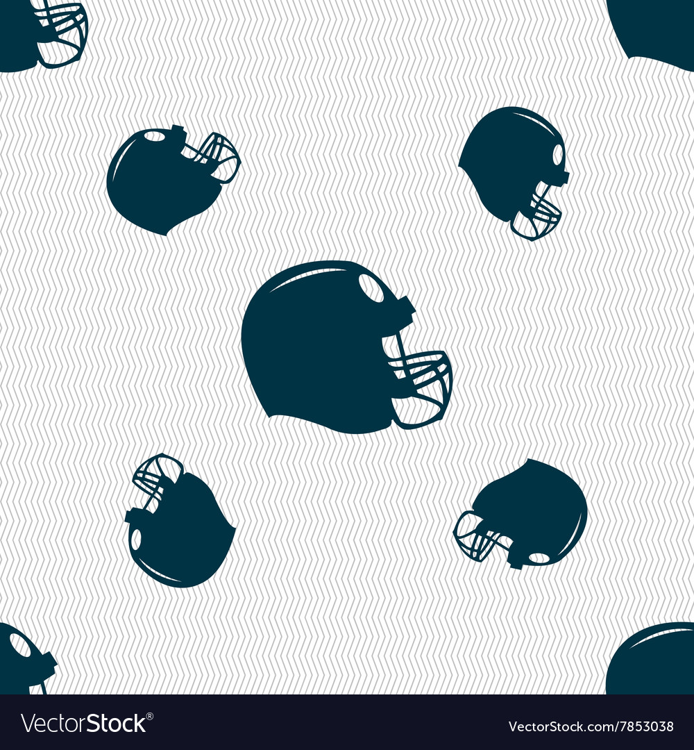 Football helmet icon sign Seamless pattern with vector image