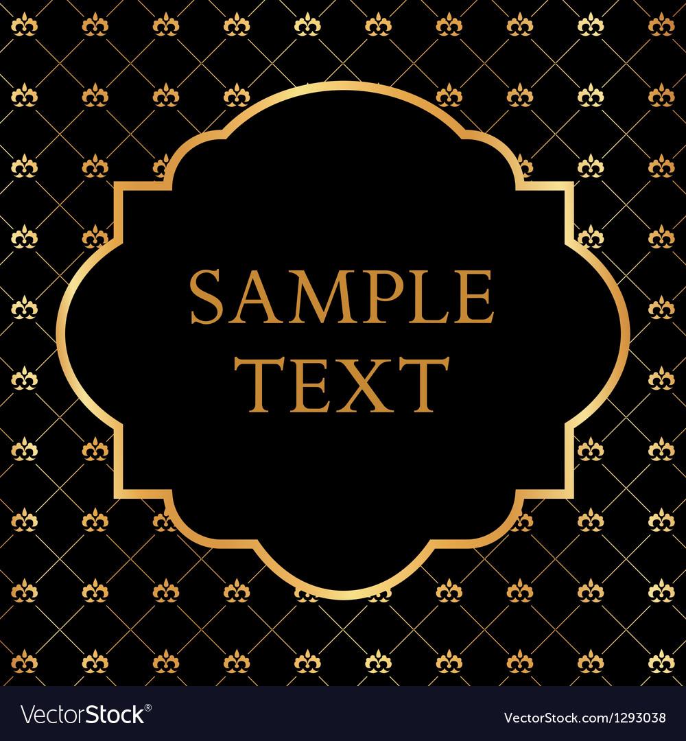 Golden Frame on Damask black Background vector image