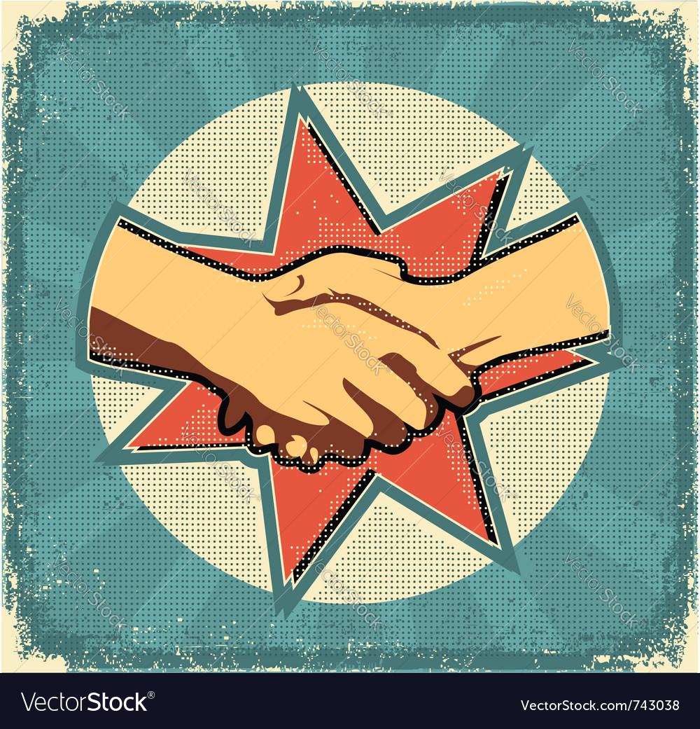 Handshake poster retro