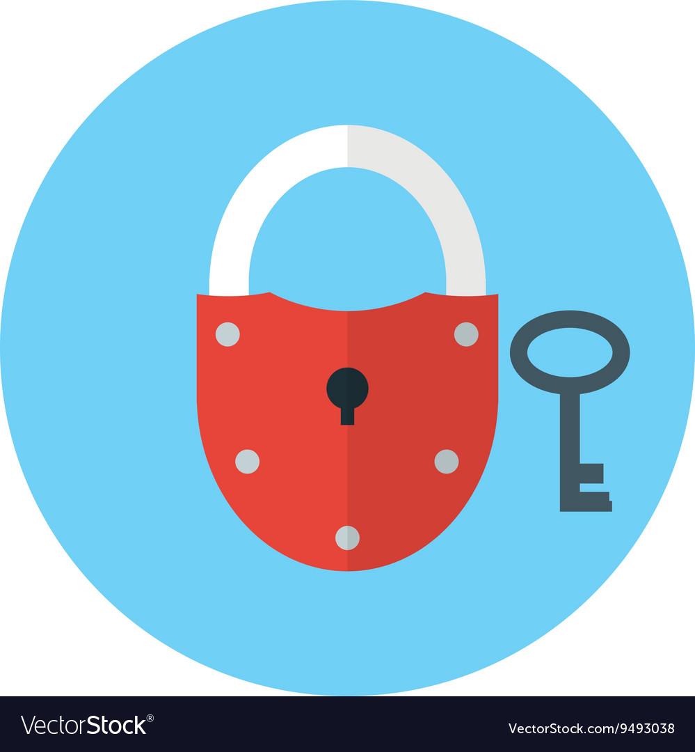 Key and Lock symbol on blue background - round