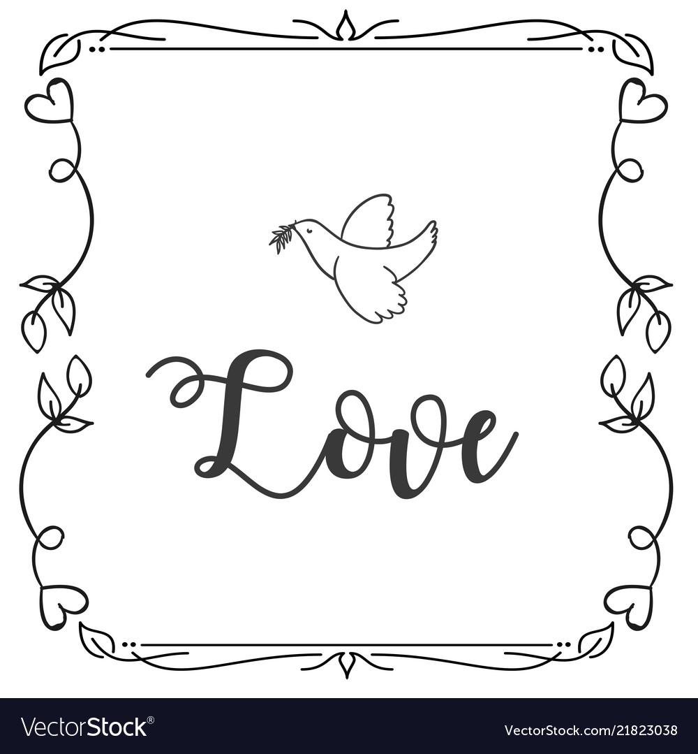 Love bird square frame design background im
