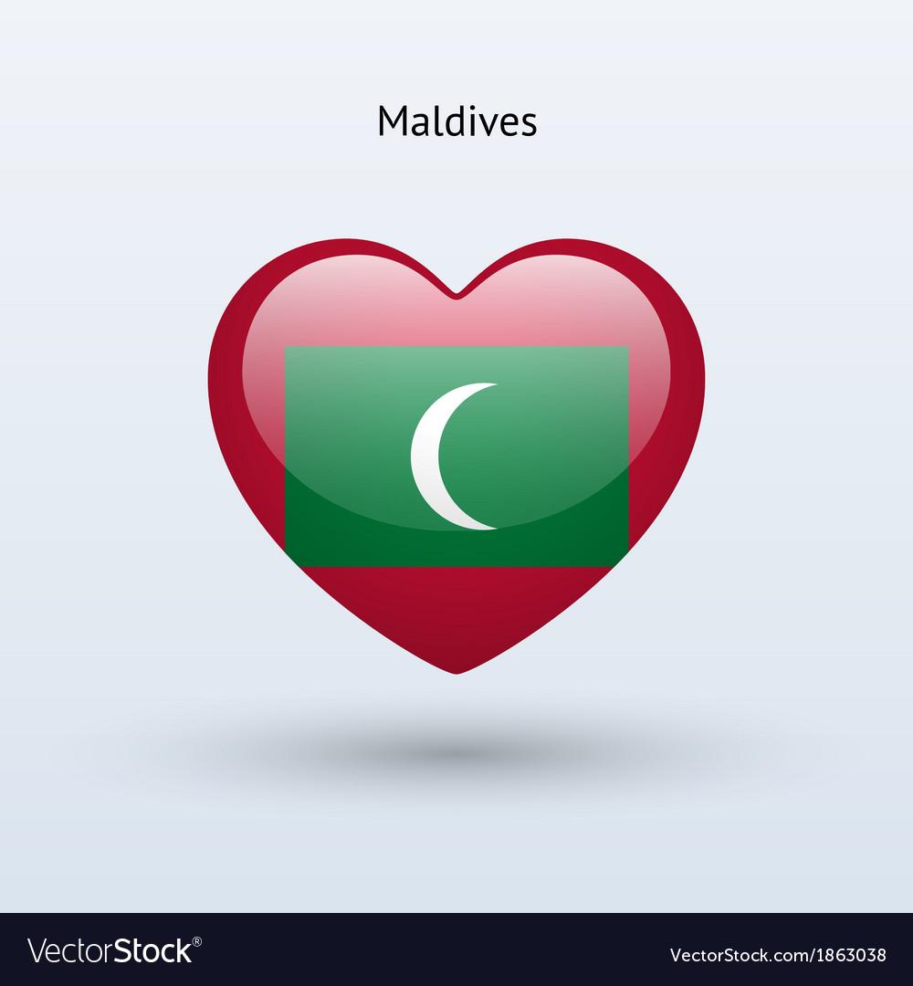 Love Maldives Symbol Heart Flag Icon