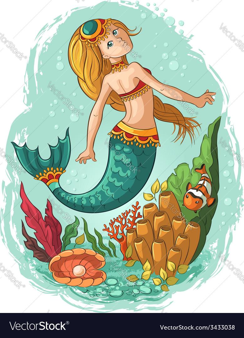 Mermaid swimming in ocean