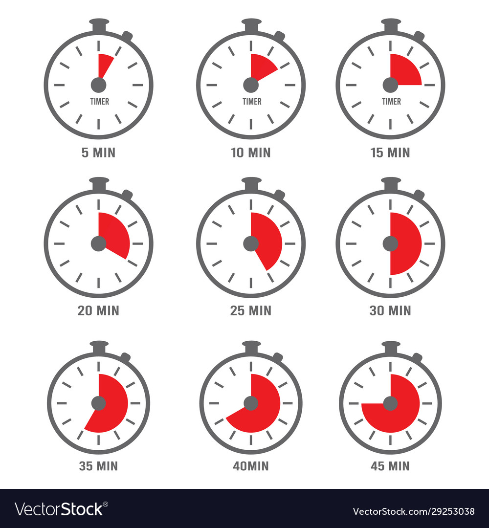 Minutes icon hour clock symbols 10 times 5 vector