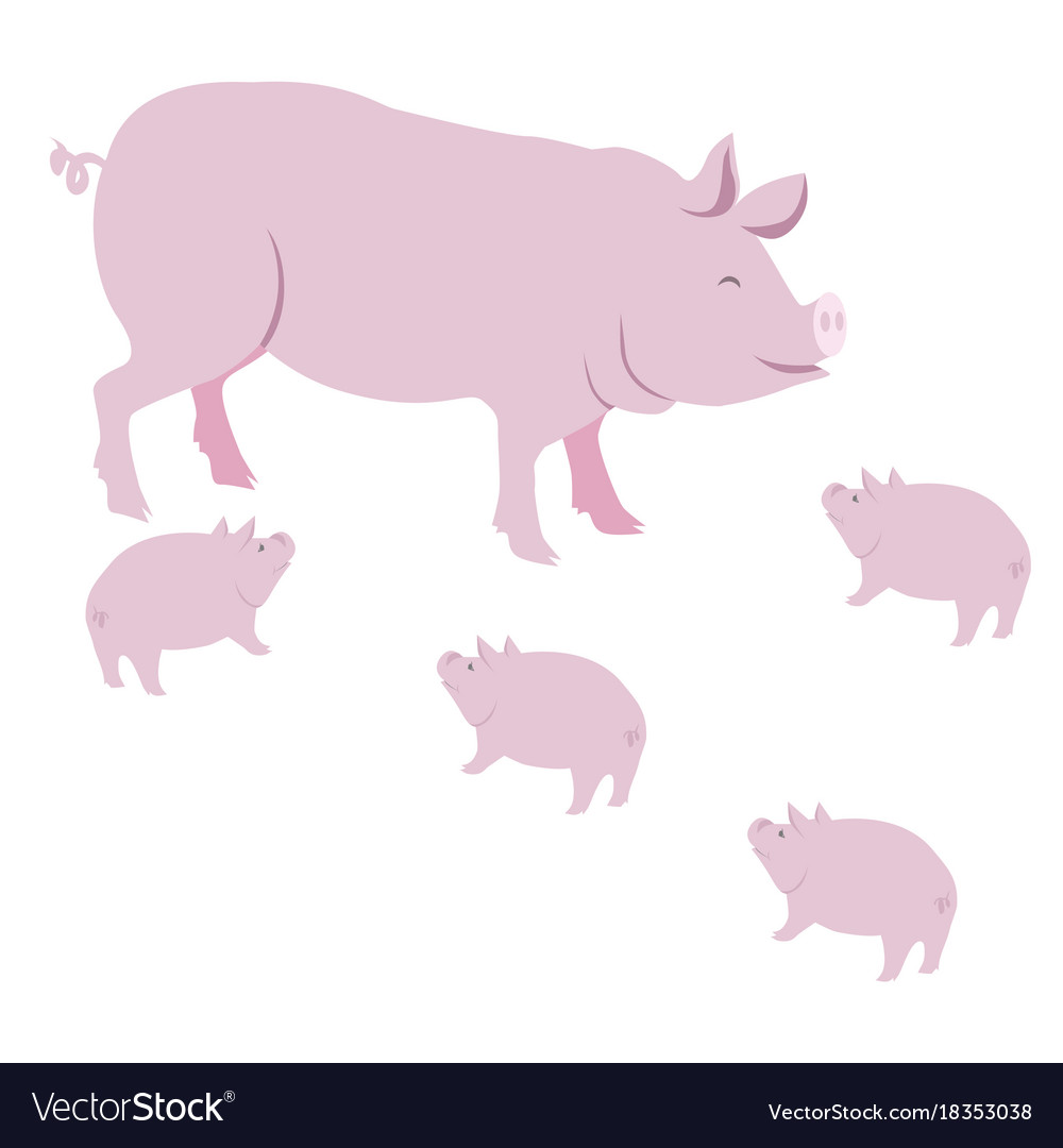 Pink pig and piggies isolated on white vector image