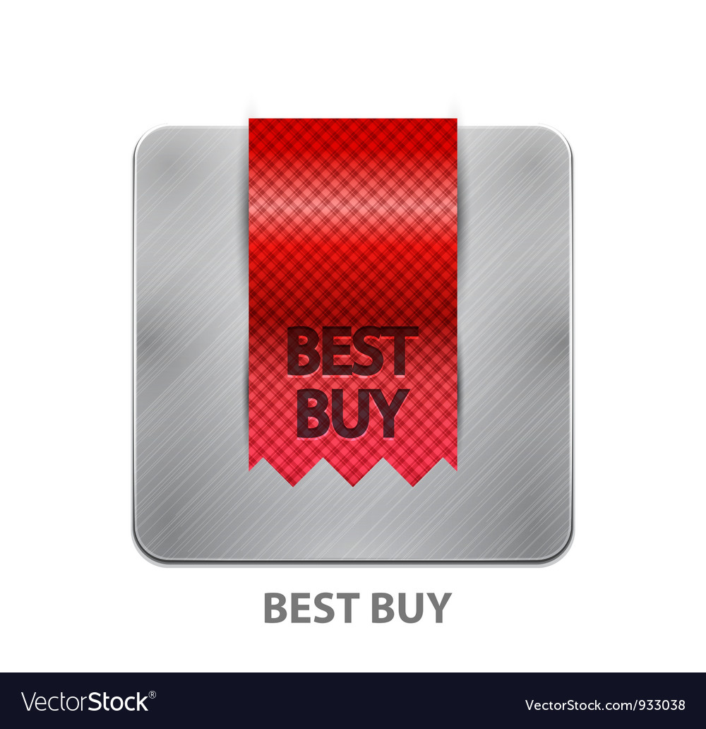 Red ribbon mobile app button vector image