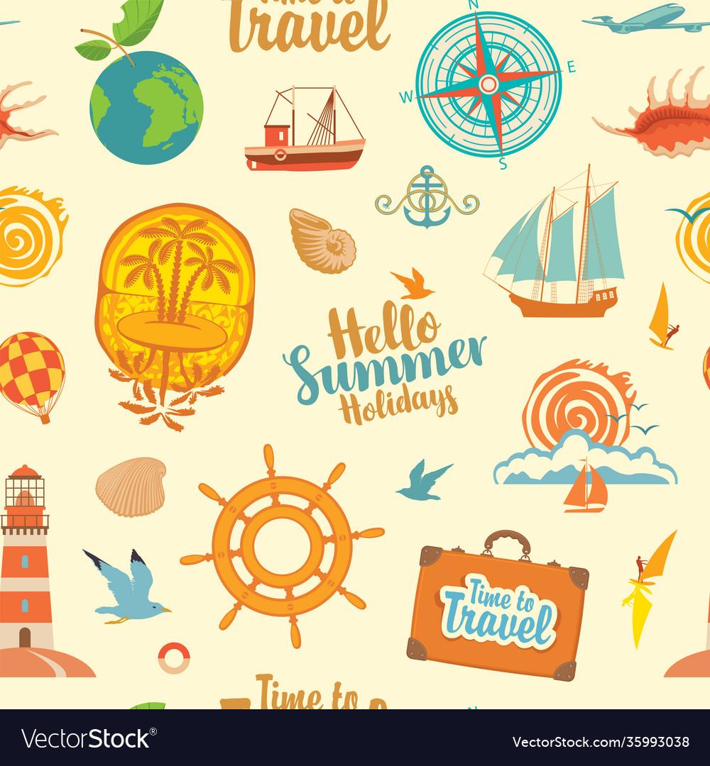 Seamless pattern on theme summer holidays