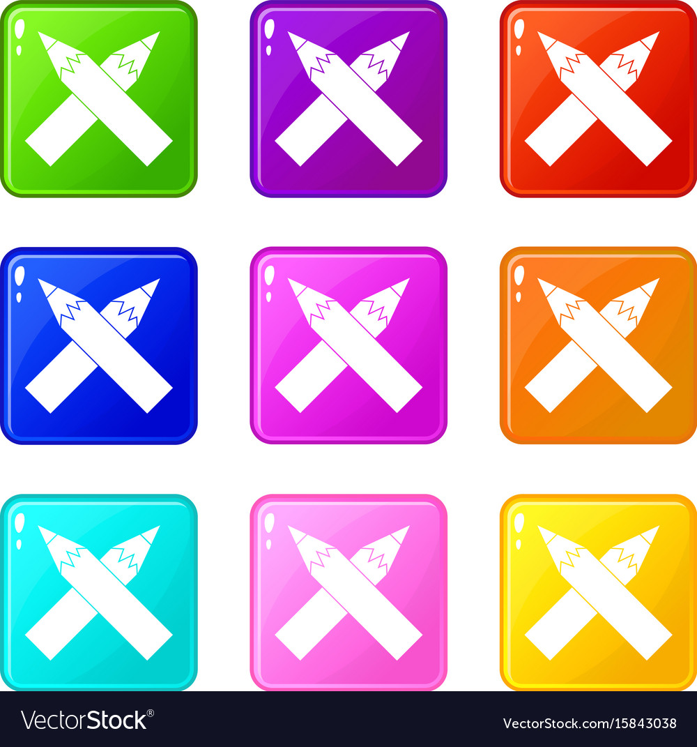 Two crossed pencils icons 9 set vector image