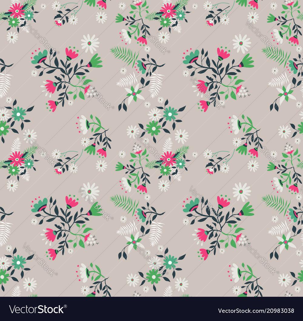 Vintage flower and leaves background pattern