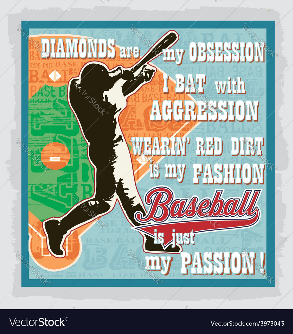 Baseball words fans vector image
