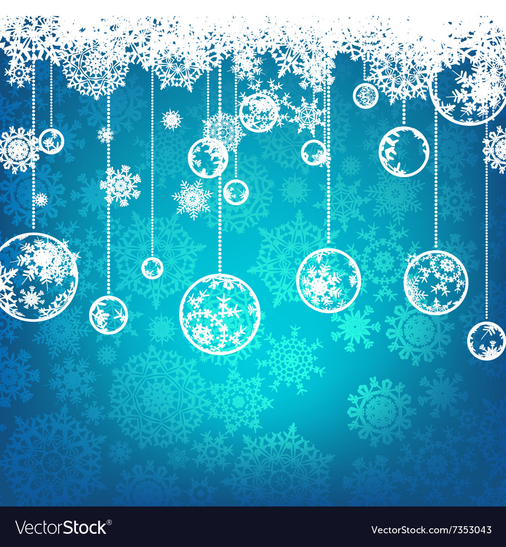 Beautiful blue happy Christmas card EPS 8 vector image