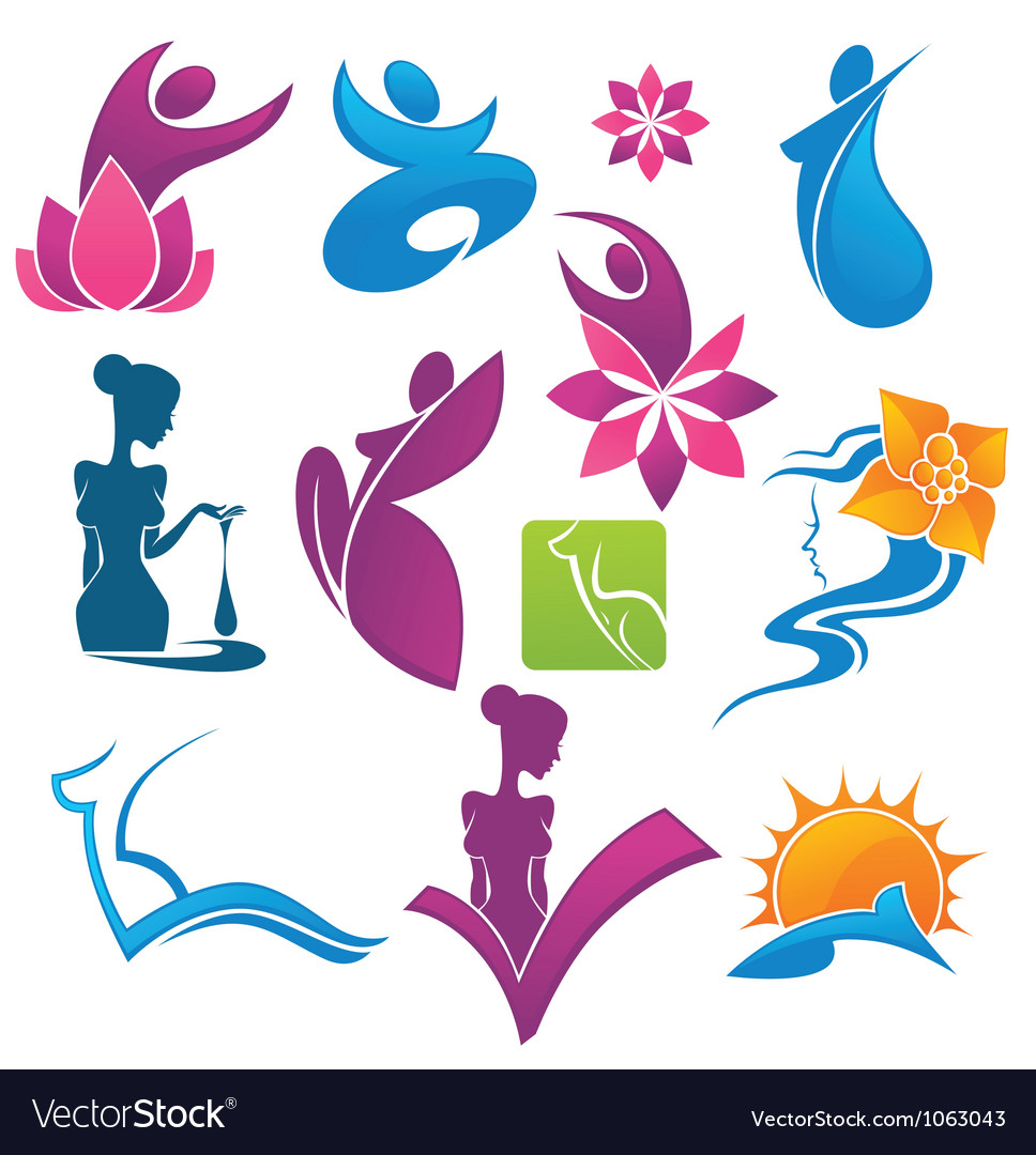 Collection of spa and beauty symbols