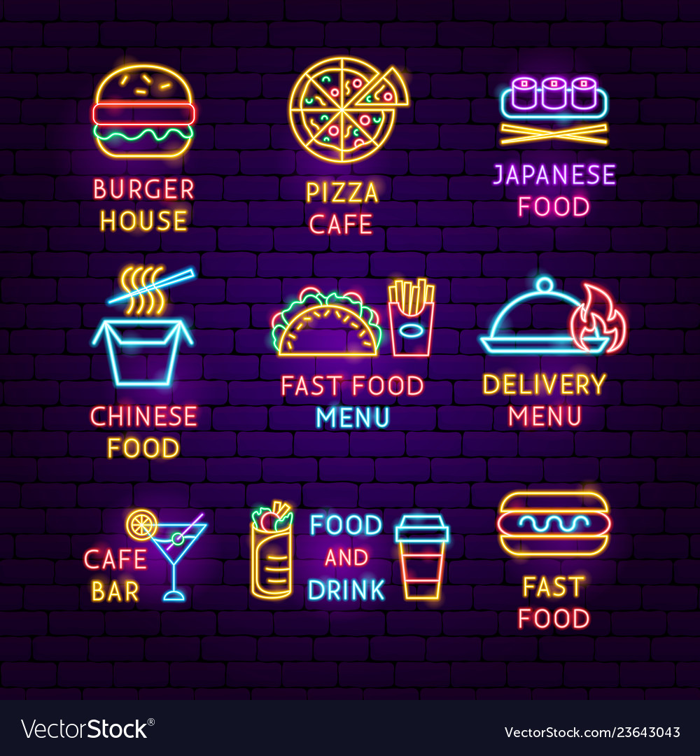 Fast food neon label set