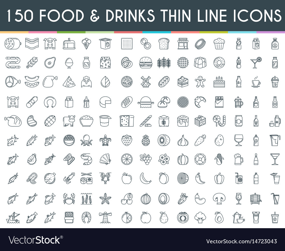 Food and drinks thin line icons