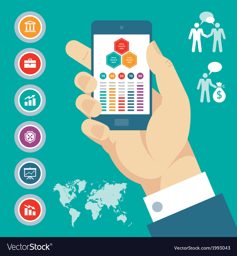 Infographic concept with mobile phone in hand