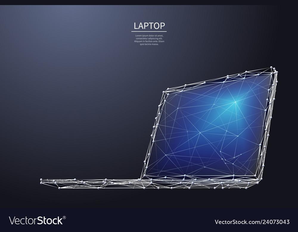 Laptop low poly white metal
