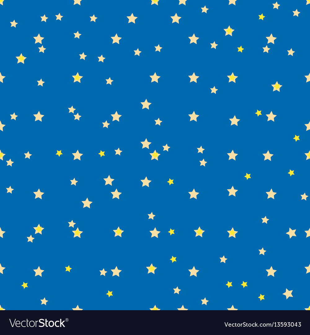 Seamless pattern with small yellow stars on blue