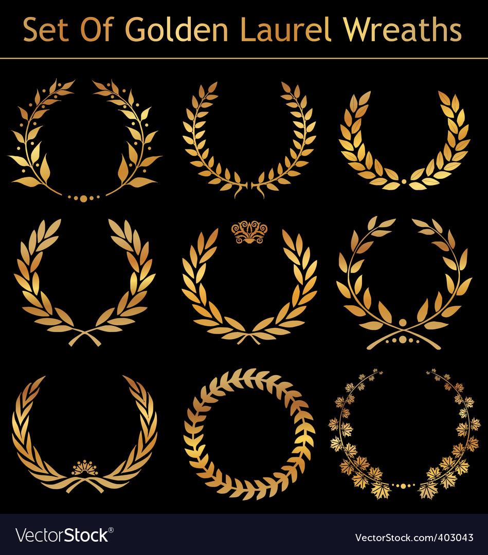 Set of golden laurel wreaths