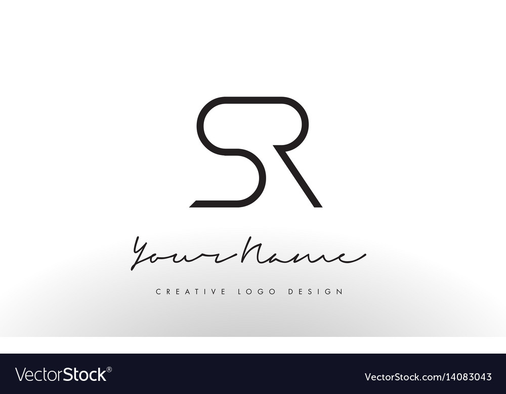 sr letters logo design slim creative simple black vector image