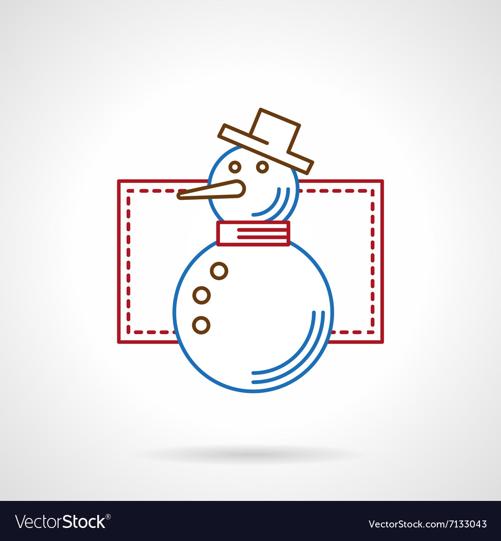Thin color line snowman icon
