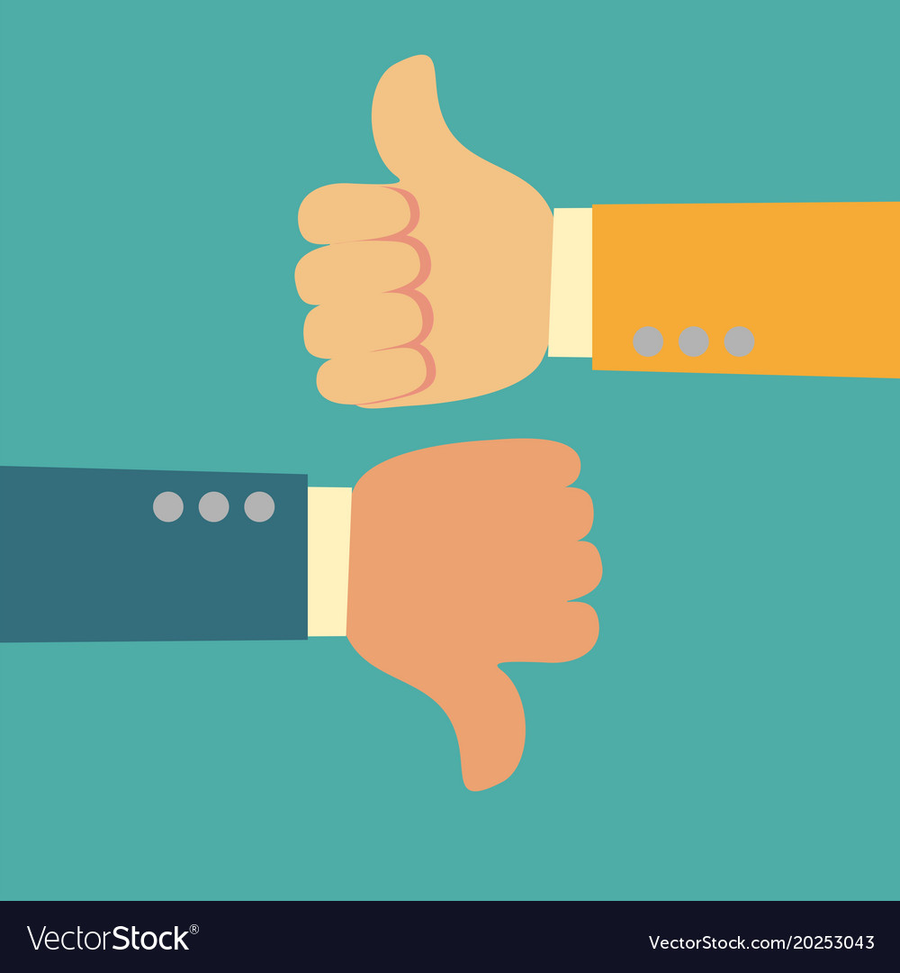 thumbs up and thumbs down like and dislike symbol vector image
