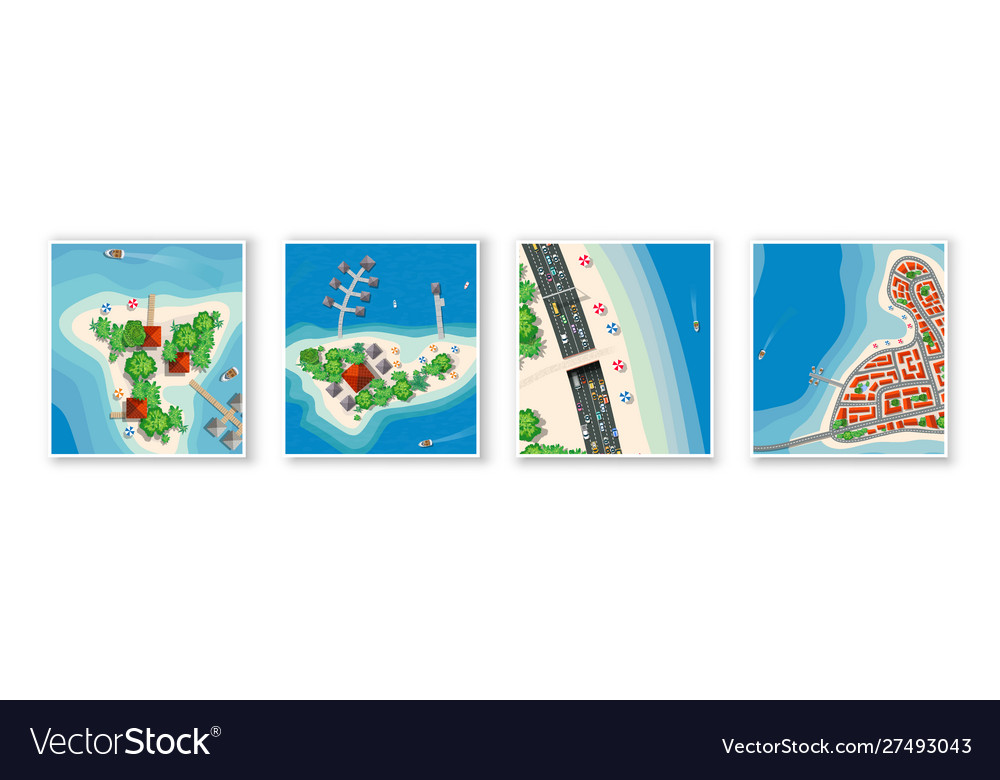 Top view set island paradise from seascapes