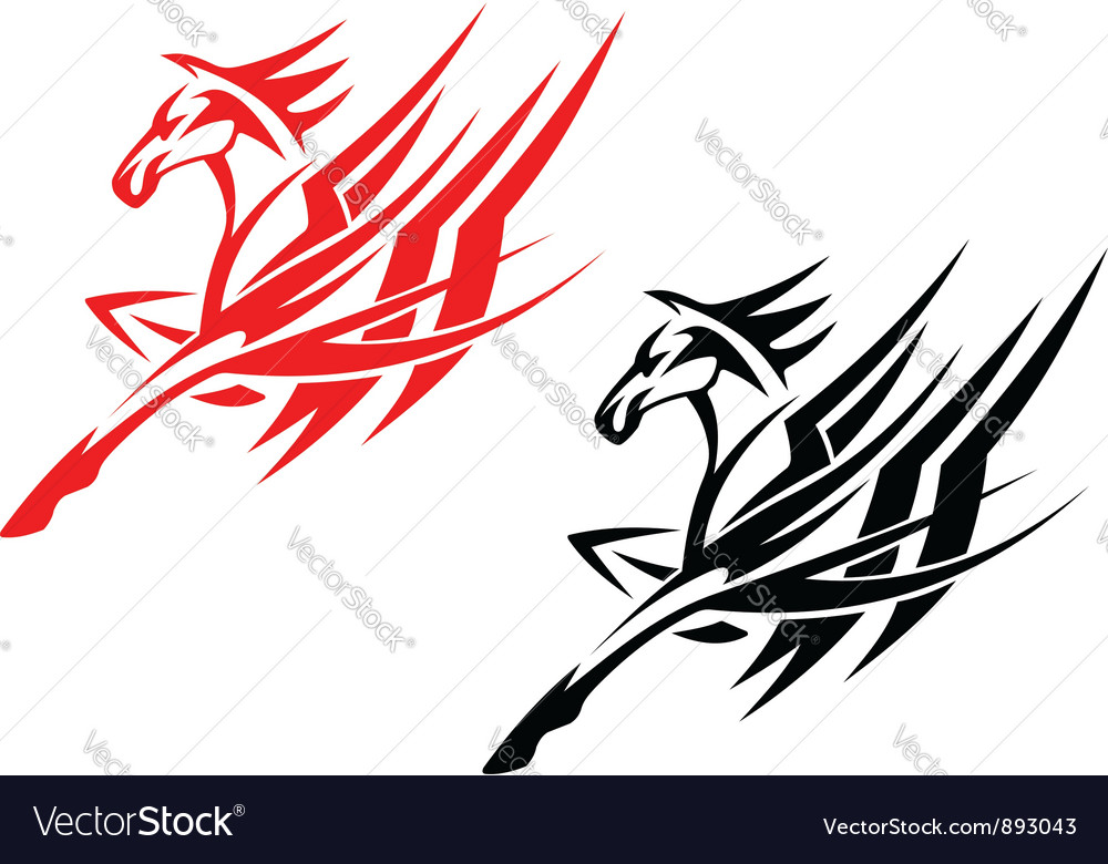 Tribal horse in black and red version vector image